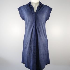 Cloth & Stone Blue 100% Cotton Shirt Dress